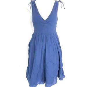 MAUVE Anthropologie Violet Cotton V-Neck Dress ~ 2